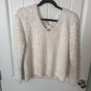 White v neck sweater